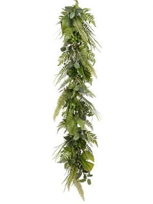 6' Mixed Fern/Grass/Echeveria Garland Green