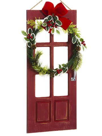 "17.75"" Door Wreath Wall Decor Green Red"