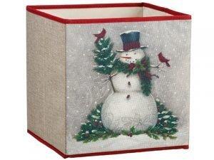 "11""H x 11""W x 11""L SnowmanStorage BoxWhite Green"