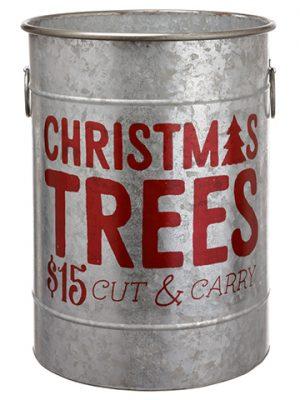 "18""H x 14""D Christmas Tree TinBucketGray Red"