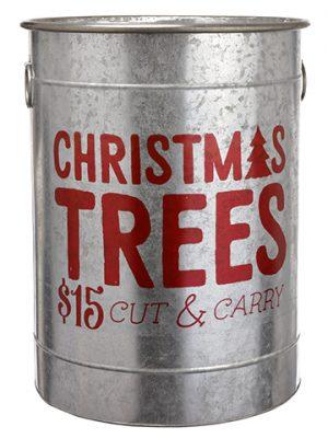 "23""H x 18""D Christmas Tree TinBucketGray Red"