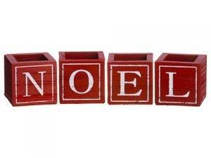 "3""H x 3""W x 3""L Noel Wood Box (4ea/set)Red White"