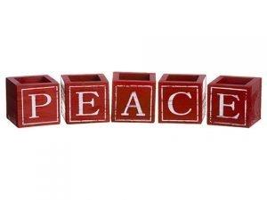 """3""""H x 3""""W x 3""""L Peace Wood Box (5ea/set)Red White"""