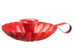 """2.25""""H x 8.5""""D Tin Candleholder Red"""