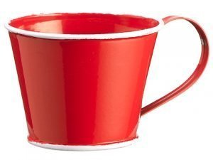 "2""H x 4""D Water Protected Coating Tin Cup Red"