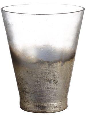 "10""H x 8""D Glass Vase Gray Silver"