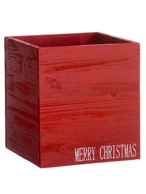 "10""H x 9""W x 9""L Merry Christmas Wood Box Red White"