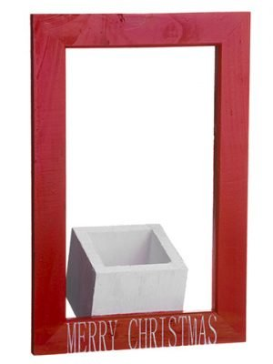 "12""H x 8""W Merry Christmas Wood Planter Red White"