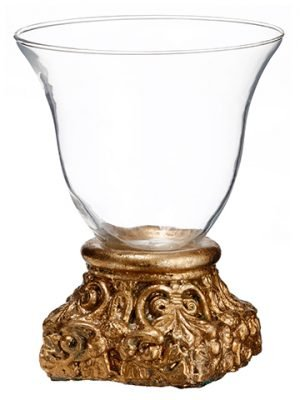 "9.75""H x 7.6""D Glass Vase With Cement Base Clear Gold"