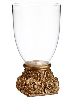 "20""H x 11""D Glass Vase With Cement Base Clear Gold"