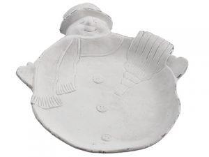 "15.75"" Cement Snowman Plate White"