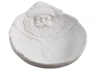 "11"" Cement Santa Plate White"