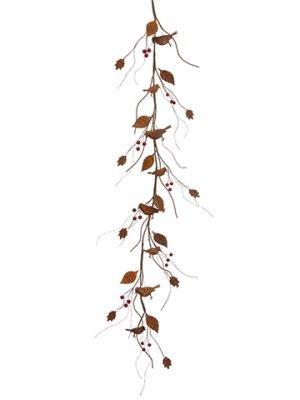 4' Leaf/Bird/Berry Garland Rust Burgundy