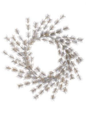 "27"" Glittered Pine Wreath Silver Gold"
