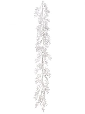 6' Snowed Leaf Garland White