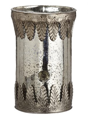 "12.5""H x 8""D Glass Hurricane Antique Silver"