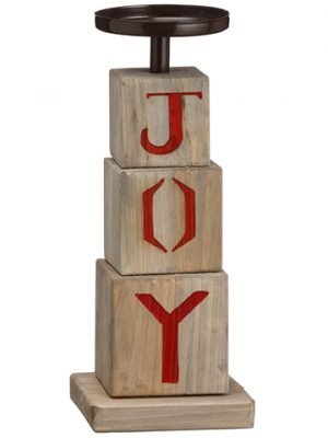 "11.5"" Joy Candleholder Brown Red"