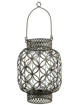 "10.75""H x 7.8"" Metal Filigree Candleholder Brown"