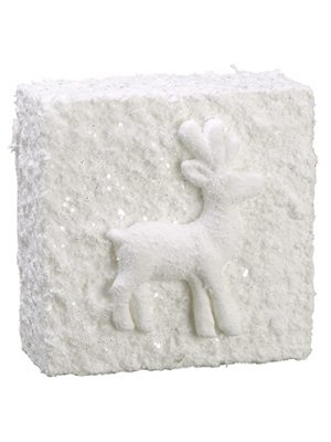 "8""W x 8""L Snowed Reindeer Wall Tile White"