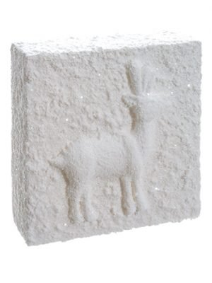 "12""W x 12""L Snowed Reindeer Wall Tile White"
