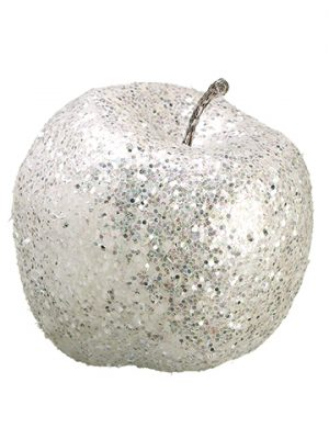 "5"" Glittered Apple White"