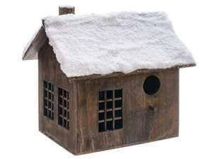 "12"" Snowed Wood House Brown Snow"