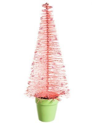 "13"" Glittered Bottlebrush Pine Tree in Terra Cotta Pot Pink Glittered"