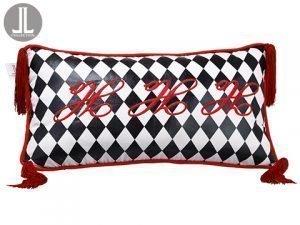 "12""W x 22""L Ho Ho Ho HarlequinPattern PillowBlack Red"