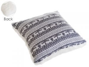 """18""""W x 18""""L Knitted ReindeerPillowGray White"""