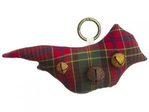 "9"" Plaid Cardinal Doorknob Hanger With Bells Red Green"