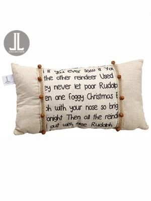 """12""""W x 21""""L Rudolph The RedNosed Reindeer PillowBeige Rust"""