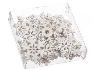 "1.5""H x 4.75""W x 4.75""L Snowflake Wood Confetti Assortment in acetate Box White"
