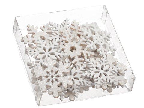 "1.5""H x 4.75""W x 4.75""L SnowflakeWood Confetti Assortment inacetate Box White"