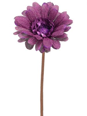 "21.5"" Glittered Linen Gerbera Daisy Spray Purple"