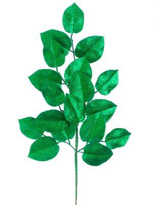 "20"" Glittered Lemon LeafSprayEmerald Green"