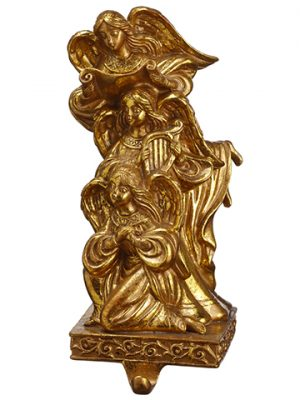"9"" Angel Stocking Holder Antique Gold"