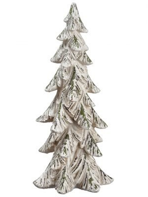 "14"" Glittered Tree Cream Green"