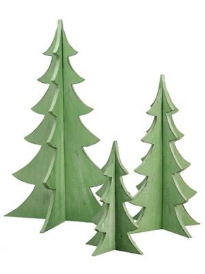"12""-24"" Wood Christmas Tree (3 ea/set) Green"