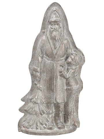 "10.5"" Santa/Kid With Tree Star Chocolate Mold Antique Slver"