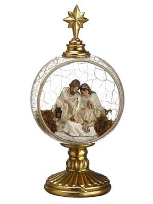 "9"" Nativity Set Golbe Table Top Gold Ivory"