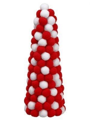 "9"" Pompom Cone Topiary Red White"