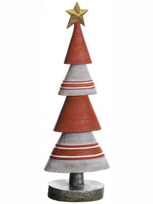 "13.75"" Christmas Tree With Star Cream Red"