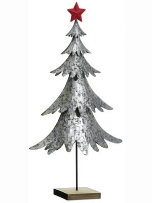 """26"""" Metal Tree With Star Gray Red"""