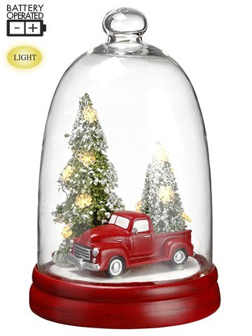 """10""""H Battery OperatedCar/Christmas Tree in GlassDome With Light Red Green"""