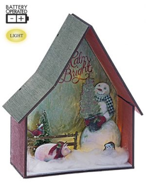 "10""H x 8""L Battery Operated Snowman With Christmas Tree in Farm House With Light Red G"