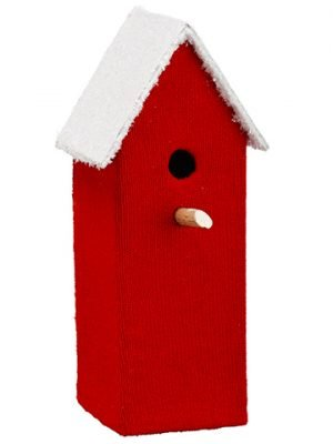 "12""H x 4""W x 4""L Birdhouse Red White"