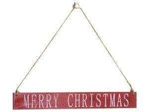 "15"" Merry Christmas HangingSignRed White"