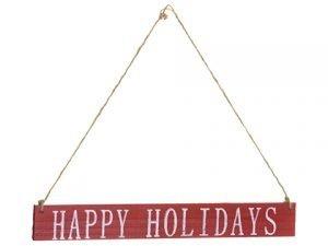 "15"" Happy Holidays HangingSignRed White"