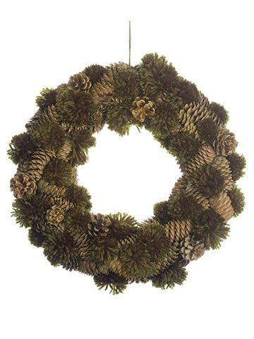 "13"" Pompom/Pine Cone Wreath Green Brown"