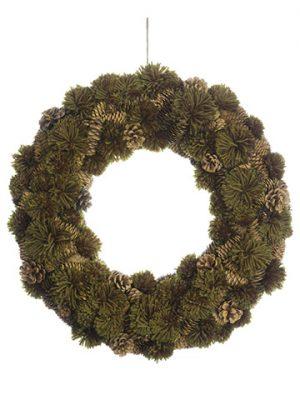 "18"" Pompom/Pine Cone Wreath Green Brown"